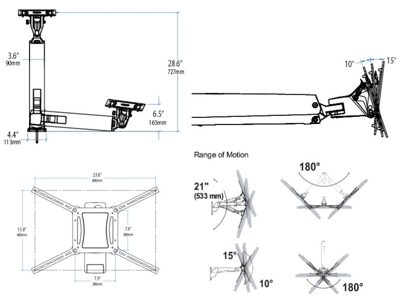 ergotron  interaktiver arm vhd  tv wandhalterung  45